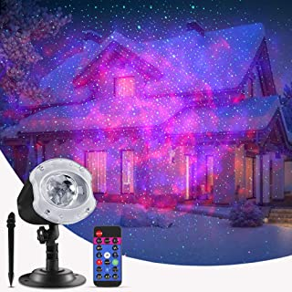 ECOWHO Laser Christmas Projector Light Outdoor, 10 Changing Colors 2 in 1 Ocean Wave LED Christmas Projector Night Light with Remote RGBW Waterproof Landscape Lights for Bedroom Party Home