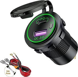 Thlevel Tipo C PD y QC3.0 Toma USB Coche 12V / 24V Cargador de Coche Impermeable con Interruptor y LED Indicador para Coch...