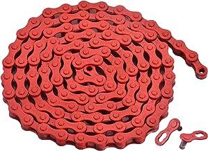 """zonkie Single-Speed Fietsketting 1/2 x 1/8 Inch 116 Links (rood, 1/2"""" ×1/8"""" 116 schakels)"""