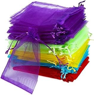 100 unidades de bolsas de organza pequeñas 10 x 15 cm, Vegena Organza saquitos pequeños Organza saquitos Cordón 5 colores para joyas bolsas boda sacos bolsa regalo fiesta