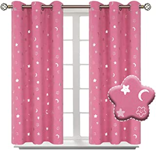 BGment Moon and Stars Blackout Curtains for Girls Bedroom, Grommet Thermal Insulated Room Darkening Printed Kids Curtains, 2 Panels of 42 x 54 Inch, Pink