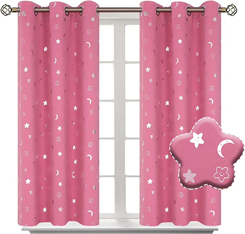 BGment Moon And Stars Blackout Curtains For Girls Bedroom Grommet Thermal Insulated Room Darkening Printed Kids Curtains 2 Panels Of 42 X 45 Inch Pink