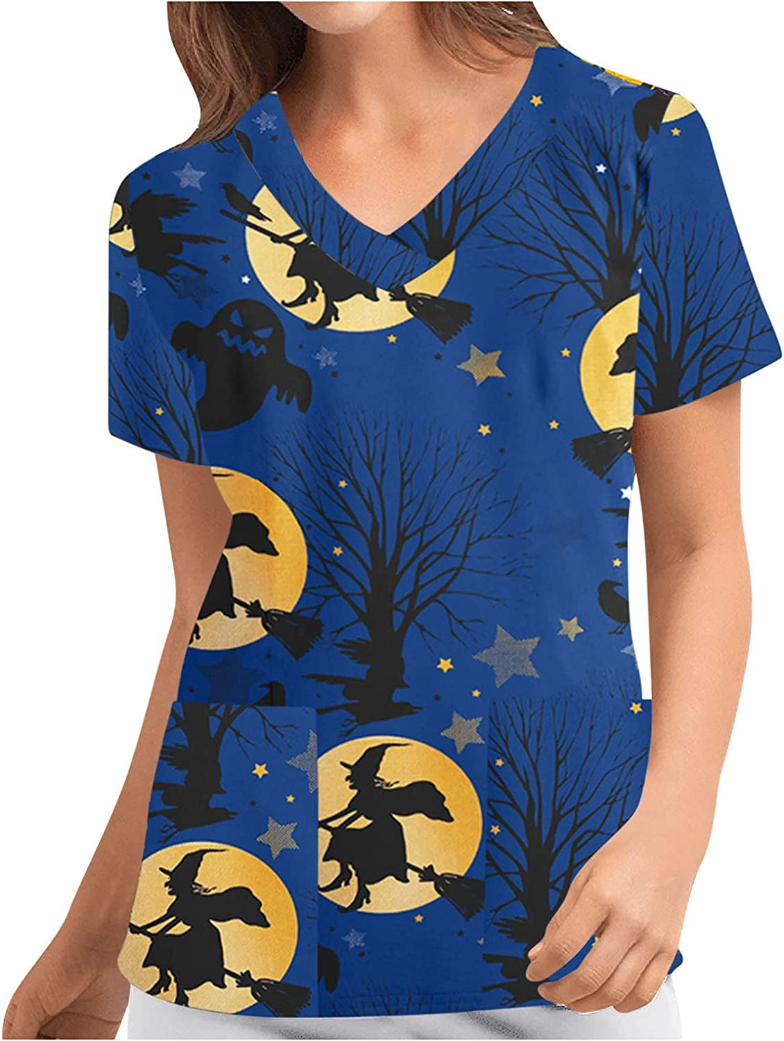 Women Short Sleeve Working Uniform Halloween with Pockets T Shirts V-Neck Comfy Blouses Tops