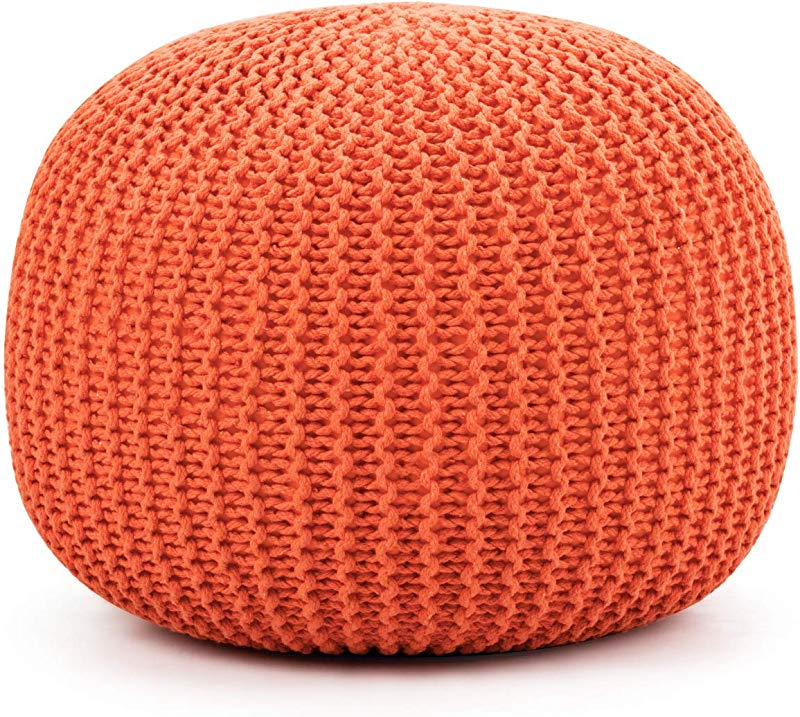 Giantex Pouf Round Knitted Hand Knitted Dori Cable W Handmade Cotton Braid Cord Home Decorative Seat For Guests Ideal For Living Room Bedroom Kid S Room Floor Ottoman Footrest Orange