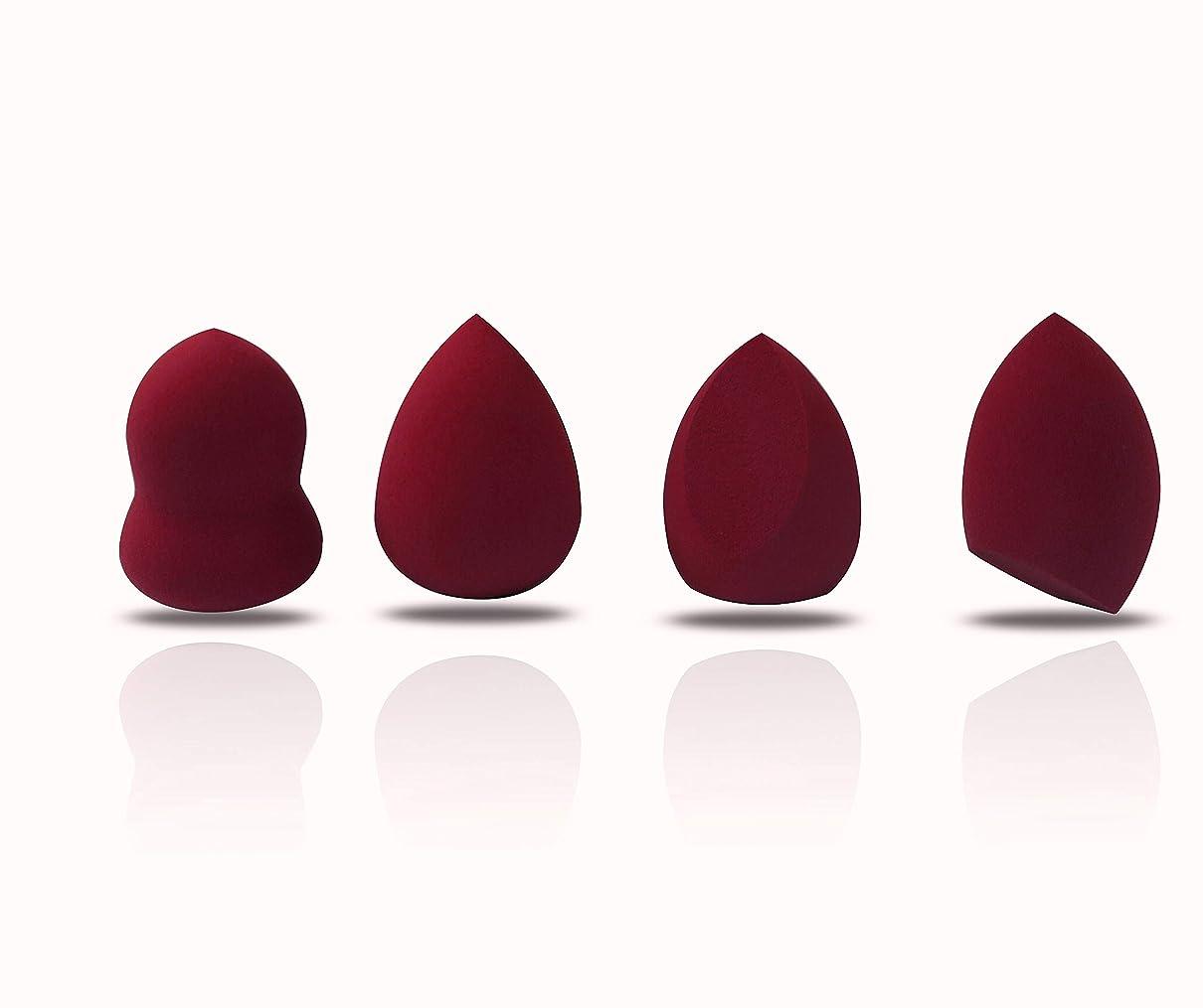 曲がったキリスト教彼メイクスポンジ スポンジパフ 化粧 3色4形セット 多機能パフ ファンデーション対応 (赤 ワイン)