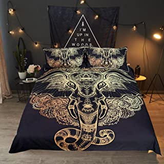 Sleepwish Elephant Henna Art Duvet Cover Black Metallic Gold Glitter Bedding Tribal Elephant Bedspread (King)