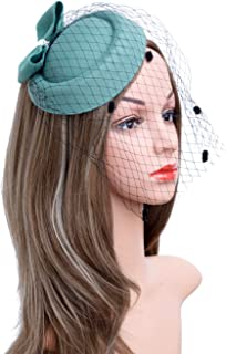 af2a0c013ad Fascinators Hats 20s 50s Hat Pillbox Hat Cocktail Tea Party Headwear with  Veil for Girls and
