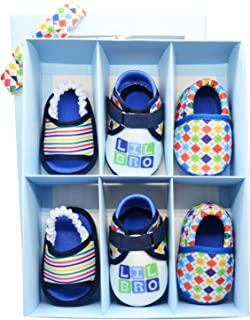 KazarMax Anti-Skid Breathable Soft & Comfortable Lil Bro Printed Born Baby Winter Unisex Pack of 3 Booties Gift Set - TOOTSIES/Shoes