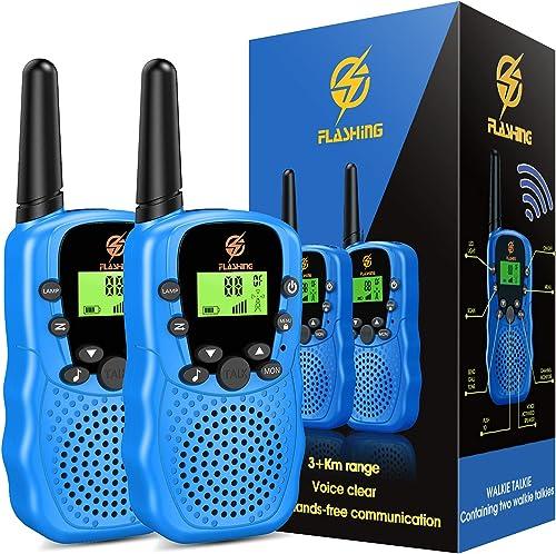 Dreamingbox Talkies Walkies Enfants Jeux pour Enfants Radio à 2 Voies avec 8 Canaux, Lampe de Poche LCD Rétro-éclairée
