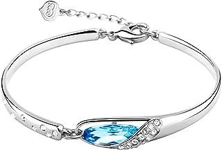 "T400 Jewelers ""Glass Slipper"" Crystal Bracelet for Women/Girls Elegant Design Bangle Adjustable Aquamarine Blue"