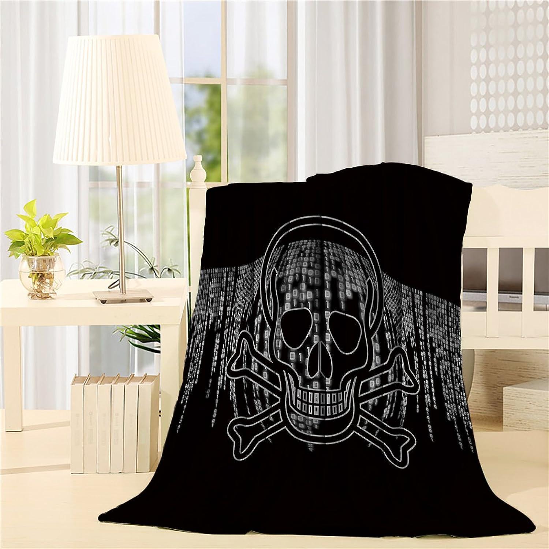 Fleece Blanket Art Illustration Skull Number Password Blankets Living Room Bedroom Wearing Teather