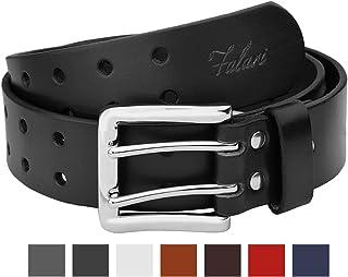 Falari Men's Full Grain Leather Belt Double Prong Belt 9004 & 9024