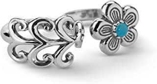 Carolyn Pollack Sterling Silver Turquoise Double Finger Flower Ring Size 5 to 10