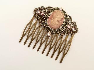 Pettine per capelli con cammeo e rose in bronzo rosa