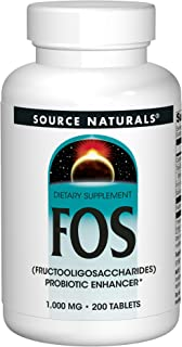 Source Naturals FOS (Fructooligosacchairdes) 1000mg Probiotic Enhancer - Prebiotic Supplement - Natural - 200 Tablets