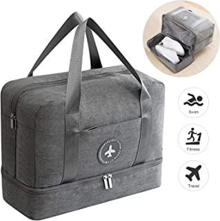 DTNO.I Sports Gym Bag, Packable Travel Duffel Bag with Wet Pocket & Shoes Compartment, Lightweight Travel Luggage Bag Gym Duffle Bag for Men and Women(Grey)