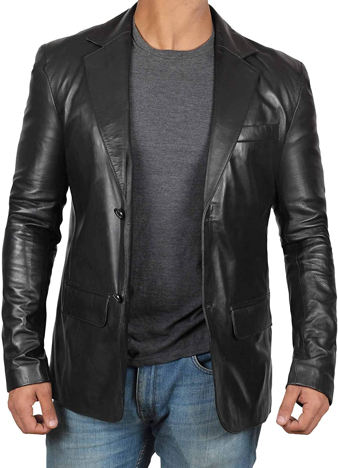 Mens Leather Blazer - Black and Brown Men Sports Lambskin Leather Coat