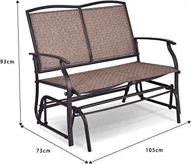 DORTALA Patio Glider Chair Bench for Outdoor Backyard, Swing Loveseat Patio Swing Rocker Lounge Glider Chair