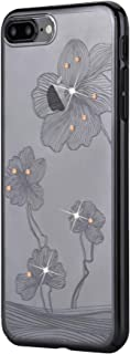 iPhone 8 Plus Case | iPhone 7 Plus Case | with Swarovski Crystals | Premium PC Material | Shock Resistance & Transparent | Wireless Charger Compatible | Crystal Flora Cover | 5.5 inch (Gun Black)
