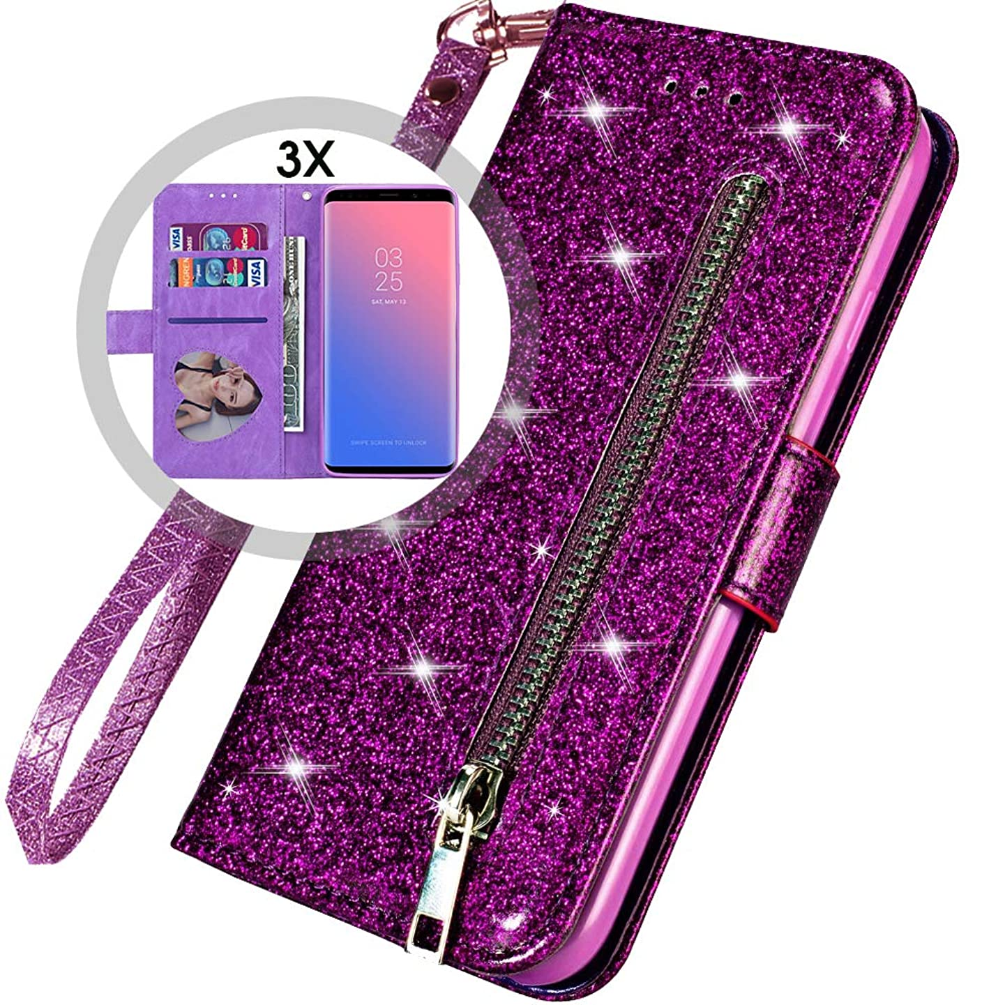 Galaxy S10e Wallet Case with Strap,S10e Wallet Case for Women,Auker Bling Glitter Folio Flip Leather Magnetic Folding Stand Sparkly Protective Zipper Purse Case with Card Holder/Money Pocket (Purple)