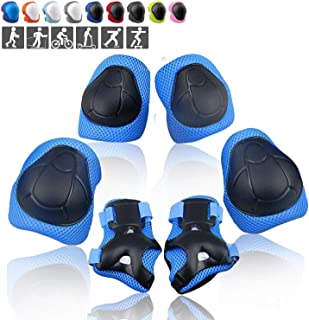 Wemfg Kids Protective Gear Set Knee Pads for Kids Toddler Knee and Elbow Pads with Wrist Guards 3 in 1 for Skating Cycling Bike Rollerblading Scooter