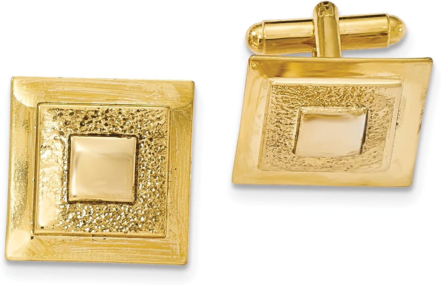 Gold-tone Polished Textured Square Cuff Links