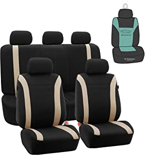 FH Group FB054115 Cosmopolitan Flat Cloth Full Set Car Seat Covers, (Airbag Compatible & Split Bench) w Gift, Beige/Black Color -Fit Most Car, Truck, SUV, or Van