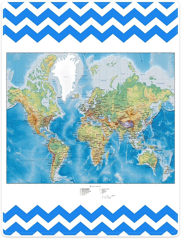 Blankets Sofa Bed Throw Lightweight Cozy Plush colorful World Map bluee Chevron 50 x60