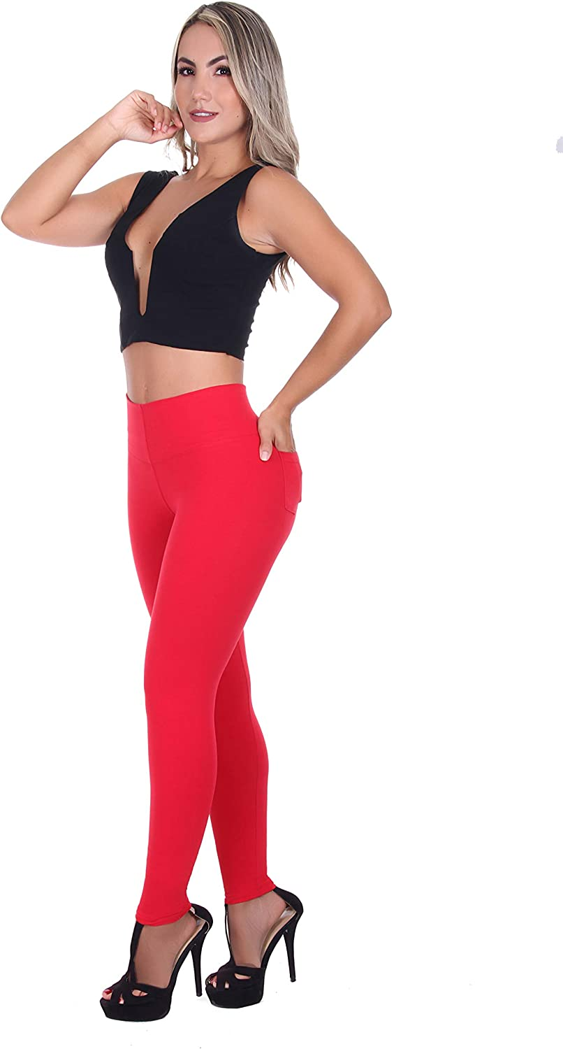 Bon Bon Up Cotton Leggings for Women with Pockets with Internal Body Shaper and Butt Lifter Multiple Styles