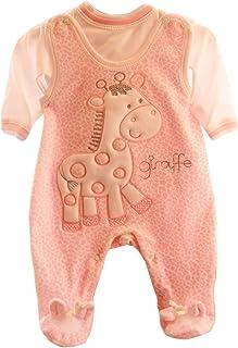Malgosia - A&O Baby Strampler Set Nicki Samt Rosa Hemdchen 50 56 62 68 74 Girafe
