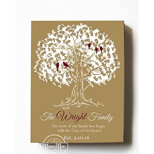 d12a44672f6f MuralMax Personalized Family Tree & Lovebirds, Stretched Canvas Wall Art, Make  Your Wedding &