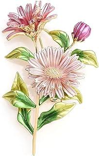 Bouquet di margherite rosa Spille smaltate Fiori in metallo Matrimoni Spille per banchetti Spille per donne e uomini