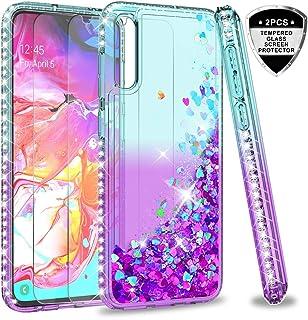 2a093da4856 LeYi Funda Samsung Galaxy A70 Silicona Purpurina Carcasa con [2-Unidades  Cristal Vidrio Templado