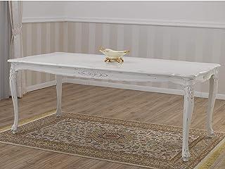 SIMONE GUARRACINO LUXURY DESIGN Table à Manger Allison Style Shabby Chic rectangulaire Blanc Vieilli 165 x 85 cm
