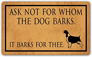 NewOxygen Dog's Themes Home Decor Rubber Non-Slip Floor Mat Balcony Entrance Rug Funny Indoor Doormat 29.6 X 17.7 Inch (Ask Not for Whom The Dog Barks It Barks for Thee)