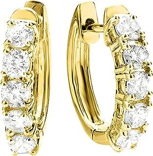 1-5 Carat Huggies Hoop Diamond Earrings 14K Gold Value Collection