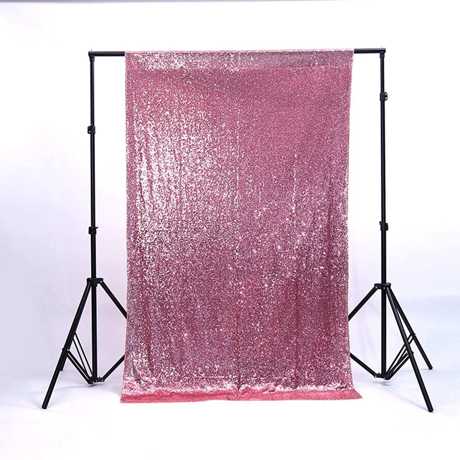 Zdada 6FTX6FT Not Through Sequin Makeup Tutorials Backdrop for Video-Blush Pink