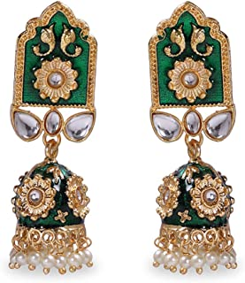 IndoTribe Meenakari Earrings For Women And Girls Bollywood Ethnic Traditional Jhumka Earrings For Women Traditional Jhumkas Indian Jewelry Dangle Earrings