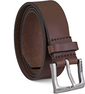 6d6ed1176f9 Timberland Mens Leather Belt Classic Jean Belt With Logo Buckle 1.4 Inches  Wide (Big And