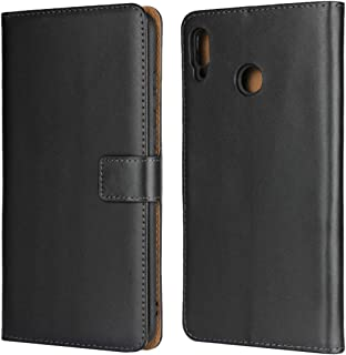 Jaorty Huawei Honor 8X Max Case, Genuine Leather Folio Flip Wallet Case Cover Book Design with Kickstand Feature & Magnetic Closure & Card Slots/Cash Compartment-Black