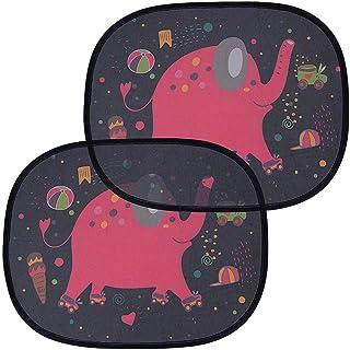Openg Protector Solar Coche Accesorios Coche Sombrilla de Ventana para bebé Coche de Sol Pantalla Sombrillas de Coche para bebé Elephant,One Size