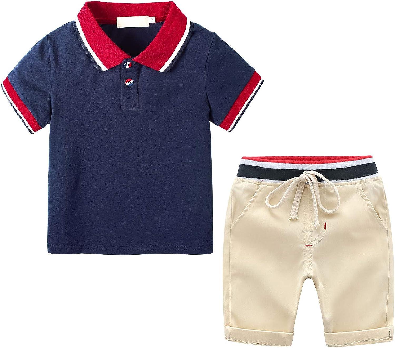 Boy Summer Short Set Little Boy Clothes Set Cool Outfits 2pcs Short Sleeved Polo Tee + Short Pants Set