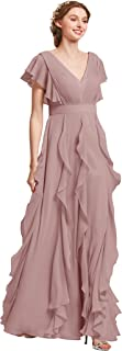 Chiffon Bridesmaid Dresses with Sleeves Long Prom Dresses Women's Wedding Guest Dresses Formal Dresses