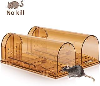 PECHTY Trampa para Ratones Vivas, Trampa para Ratones Trampa para Ratas Humanitario y Grande Ratonera con Cebo para Cocina, Jardín, Oficinas (marrón)