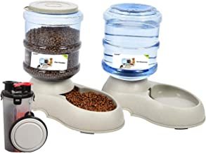 UniqueFit Pets Gatos Perros Riego autom/ático y alimentador de Alimentos 3.8 L con 1 dispensador de Agua y 1 Gris alimentador autom/ático para Mascotas
