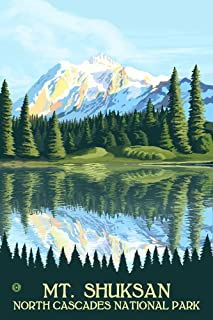North Cascades National Park, Washington - Mount Shuksan (12x18 Art Print, Wall Decor Travel Poster)