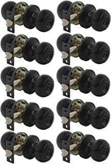 Gobrico Flat Ball Door Knobs Locksets for Bed/Bathroom with thumb-turn lock inside, no key, Black, 10Pack