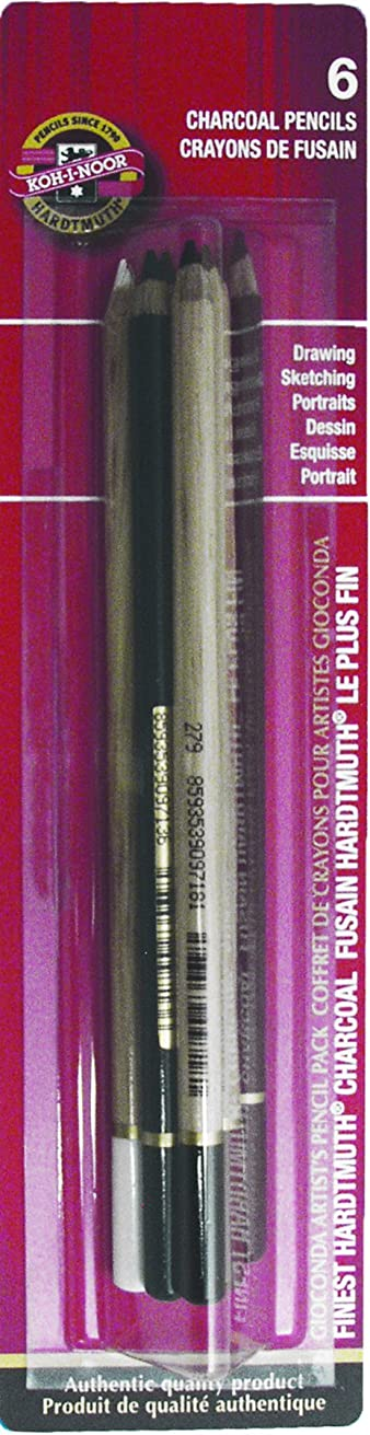 Koh-I-Noor Chalk and Charcoal Pencils, Assorted Colors, 6-Pack (FA8800GC.6BC)