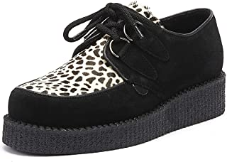 Underground Wulfrun Creeper Womens Black/Leopard Suede Shoes