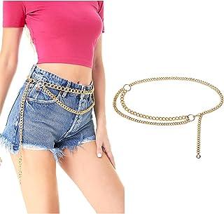 FAY & LOUIS حزام سلسلة الخصر الذهبي للنساء فساتين جينز السراويل ، أزياء أحزمة معدنية مكتنزة للنساء، أحزمة نسائية قابلة للت...